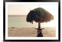 A parasol in the idyllic Baby Beach, Aruba, Framed Mounted Print