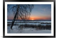 The setting sun on a frosty evening, Framed Mounted Print