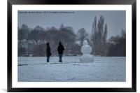 Snowman at Braunstone Park, Framed Mounted Print