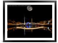 Bassin du Commerce At Night In Le Havre, France., Framed Mounted Print