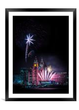Pier Head Firework Display, Framed Mounted Print