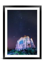 Giggleswick School Chapel starry night, Framed Mounted Print
