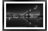 Itchen Bridge at night, Southampton, Framed Mounted Print