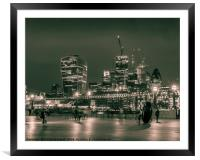 London skyline at night, Framed Mounted Print