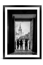 Taking photographs of the Giralda in Seville, Framed Mounted Print