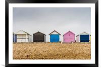 Beach huts along Calshot , Framed Mounted Print