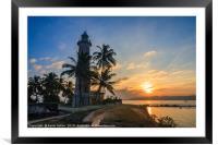 Sunrise Galle Fort lighthouse, Sri Lanka, Framed Mounted Print