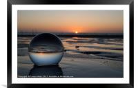 sunset in glass shpere, Framed Mounted Print