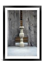 concrete vase and wooden background, Framed Mounted Print