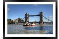 Tower Bridge with Canary Wharf in the Background, Framed Mounted Print