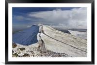 Pen y Fan in winter from the summit of Corn Du., Framed Mounted Print
