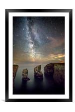 Milky Way above the Elegug Stacks, Framed Mounted Print