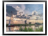 Sailing at Sunset, Framed Mounted Print