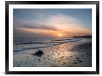 Sun Up Happisburgh Beach, Framed Mounted Print