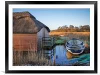 Row Boat and the Thatcher , Framed Mounted Print