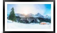 Austrian Alps in winter, Framed Mounted Print