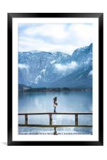 Woman on a bridge in the Austrian Alps, Framed Mounted Print