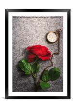 Red rose and a vintage pocket clock, Framed Mounted Print