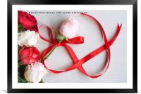 Roses and red ribbon in shape of infinity, Framed Mounted Print