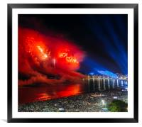 Heart-shaped fireworks at NYE party in Rio, Brazil, Framed Mounted Print