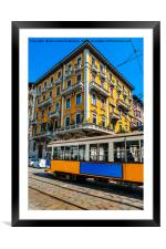 Vintage Milanese tram and building, Framed Mounted Print