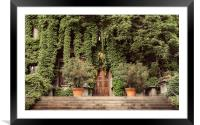 Foliage covered building, Framed Mounted Print