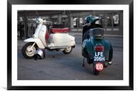 Vespa Sprint and Lambretta Li in town, Framed Mounted Print