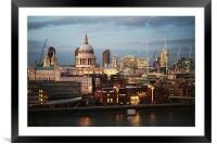 City of London and St Paul's Cathedral at dusk, Framed Mounted Print