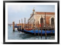Gondolas in Venice Lagoon near Dogana, Framed Mounted Print