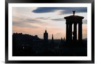 Edinburgh Skyline at dusk, Framed Mounted Print