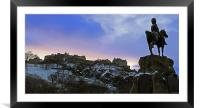 Edinburgh Castle and Scots Grey memorial, Framed Mounted Print