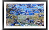 Abstract brick wall with blue tones, Framed Mounted Print