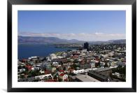 Faxafloi Bay and cityscape, Reykjavik, Iceland, Framed Mounted Print