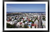 Reykjavík from the Hallgrímskirkja observation tow, Framed Mounted Print