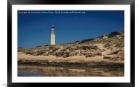 Lighthouse on the beach, Framed Mounted Print