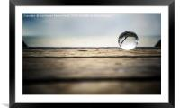 Glass ball on wood, Framed Mounted Print
