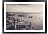 Wooden jetty over the breakwater at low tide, Framed Mounted Print