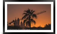 Sunset over the Internet City Dubai, Framed Mounted Print