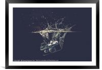 Camera drops into water with splash, Framed Mounted Print