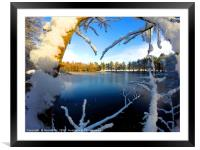 Frozen Lake at winter time, Framed Mounted Print