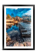Stepping Stones at Morpeth, Framed Mounted Print
