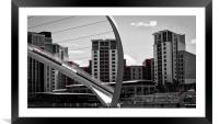 Abstract Millennium Bridge over the River Tyne, Framed Mounted Print