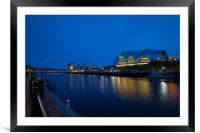 Gateshead & Newcastle Quayside in the Blue Hour, Framed Mounted Print