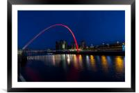 Gateshead & Newcastle Millennium Bridge, Framed Mounted Print