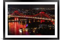 Aerial view of Story Bridge lit after dark, Framed Mounted Print