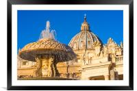 Bernini's fountains at St. Peter's square, Framed Mounted Print