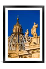 St Peter's Cathedral Cupola and religious statues, Framed Mounted Print