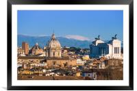 Historic Rome city skyline with domes and spires, Framed Mounted Print