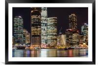 Brisbane city skyline after dark, Framed Mounted Print