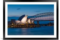 Sydney Opera House and Harbour bridge after sunset, Framed Mounted Print